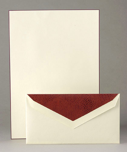 ~Cranes Brown Bordered Monarch Stationery~